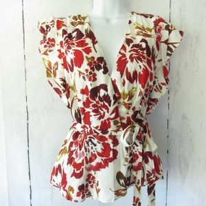 Lovers + Friends Wrap Top Floral Fall Ruffle New
